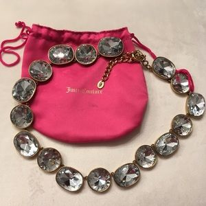"""Juicy Couture glass """"crystal"""" statement necklace"""